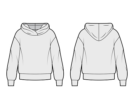 Oversized cotton-fleece hoodie technical fashion illustration with relaxed fit, long sleeves. Flat outwear jumper