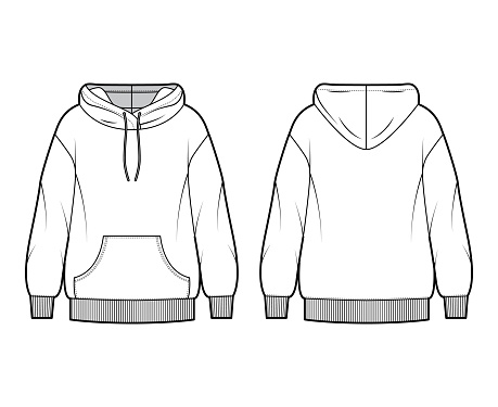 Oversized cotton-fleece hoodie technical fashion illustration with pocket, relaxed fit, long sleeves. Flat jumper