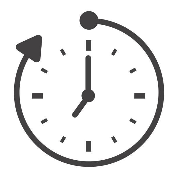 ilustraciones, imágenes clip art, dibujos animados e iconos de stock de horas extras icono sólido, negocio y reloj, gráficos vectoriales, un patrón de pictograma sobre un fondo blanco, eps 10. - trabajar hasta tarde