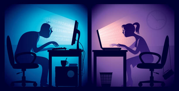 Overtime Man and woman sitting in front of screens in a dark office room. overworked stock illustrations