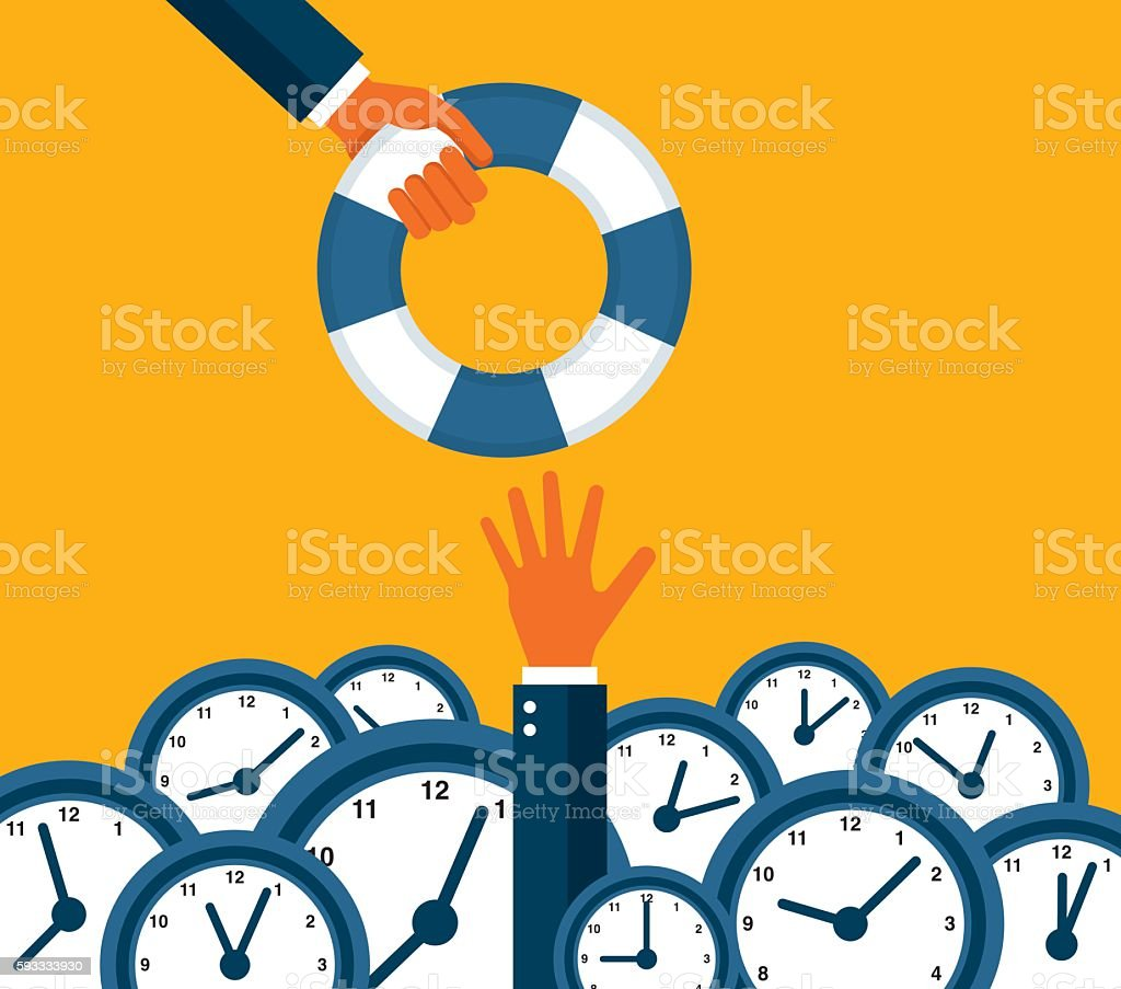 Overtime vector art illustration