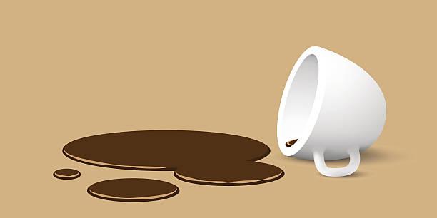 overturned cup of coffee overturned cup of coffee, vector illustration spilling stock illustrations