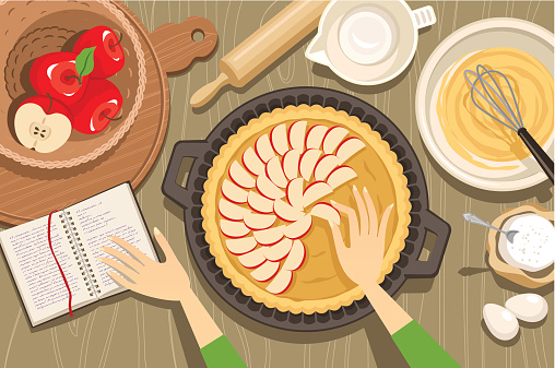 Overview illustration of hands baking an apple pie