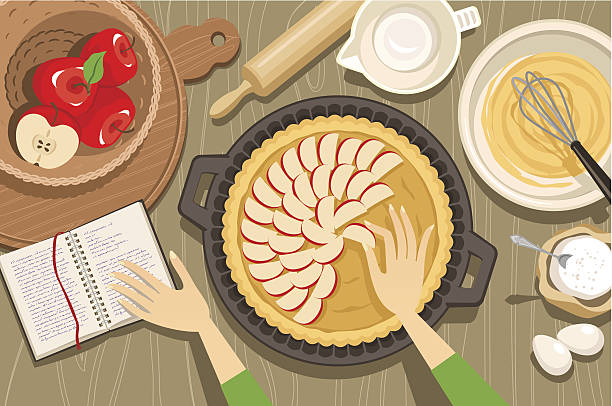 Overview illustration of hands baking an apple pie http://i1090.photobucket.com/albums/i369/v0lha/busy_3_zpsbacc19b9.jpg pastry dough stock illustrations