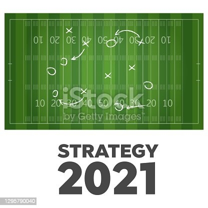Overview of American Football or football. Football or soccer game strategy plan