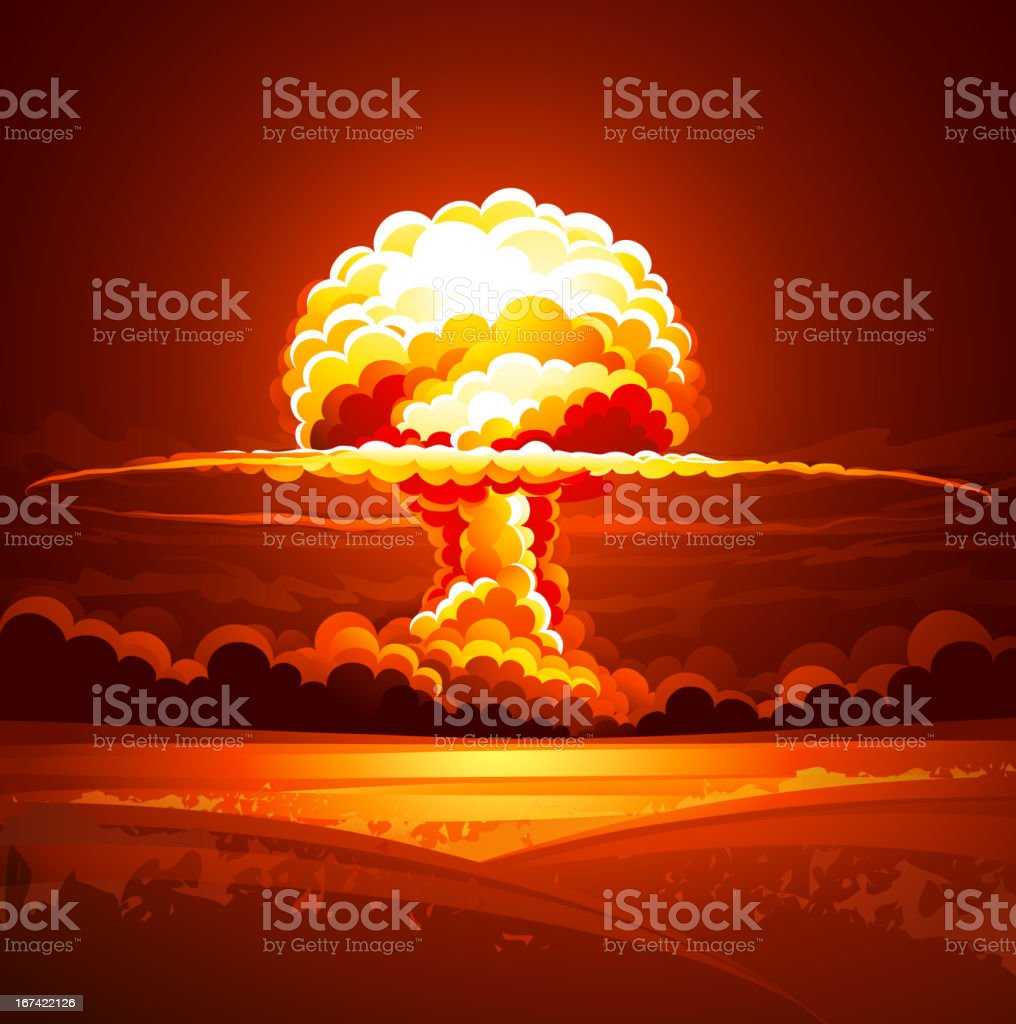 Overview of bright nuclear explosion mushroom cloud royalty-free stock vector art