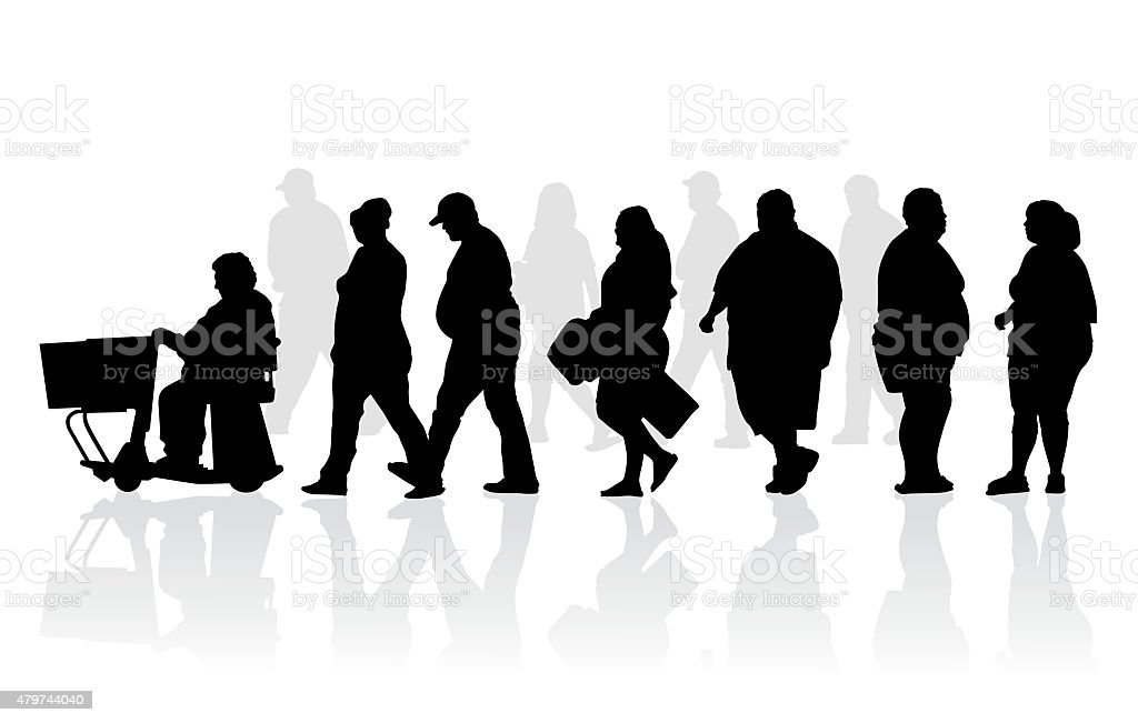 Overweight and obese people silhouette illustration vector art illustration