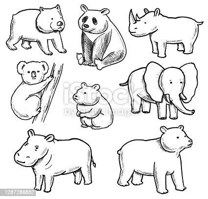 Conjunto de Doodles de Animales con Sobrepeso