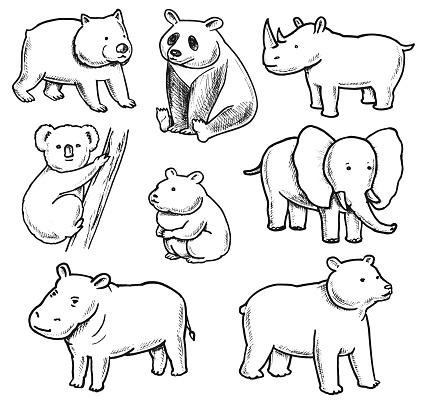 Overweight Animals Doodles Set