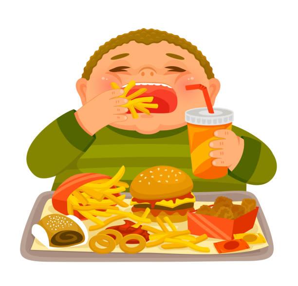 Overweight boy binge eating junk food vector art illustration