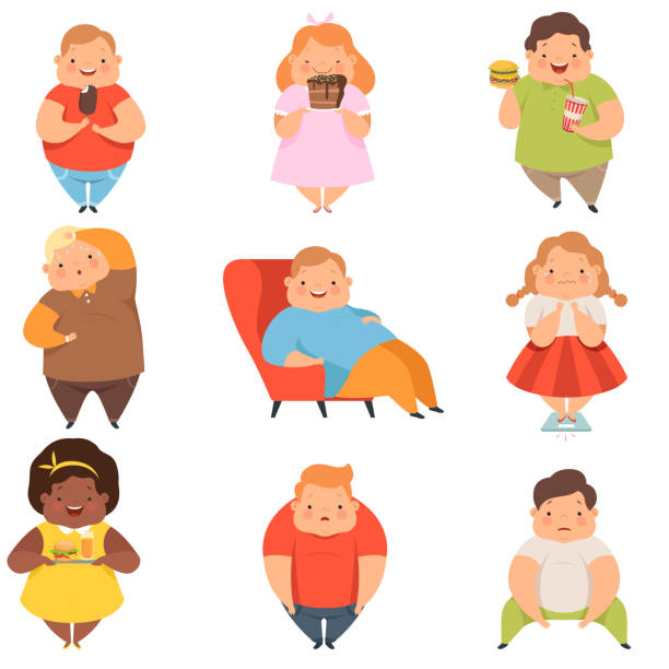 Overweight boys and girls set, cute chubby children cartoon characters eating fast food vector Illustration on a white background Overweight boys and girls set, cute chubby children cartoon characters eating fast food vector Illustration isolated on a white background. adipose cell stock illustrations