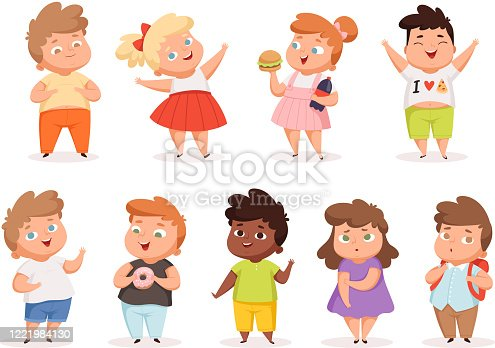 istock Overweight children. Fat kids eating different junk food oversize people in casual clothes vector different characters 1221984130