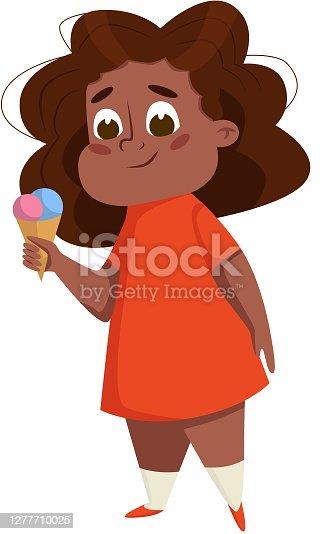 istock Overweight Chubby African American Girl, Cheerful Plump Kid Character Eaating Ice Cream Cartoon Style Vector Illustration 1277710025
