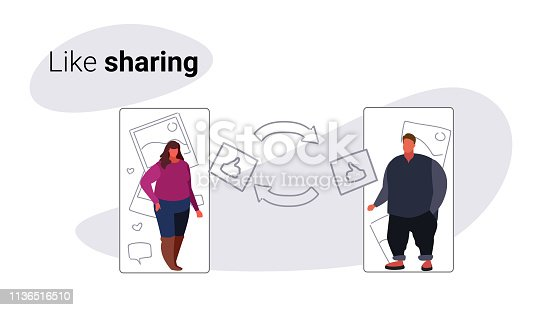 overweight couple man woman using mobile online application social media network like sharing concept smartphone screen internet connection sketch doodle horizontal vector illustration