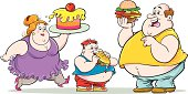 Illustration of overweight family eating food.