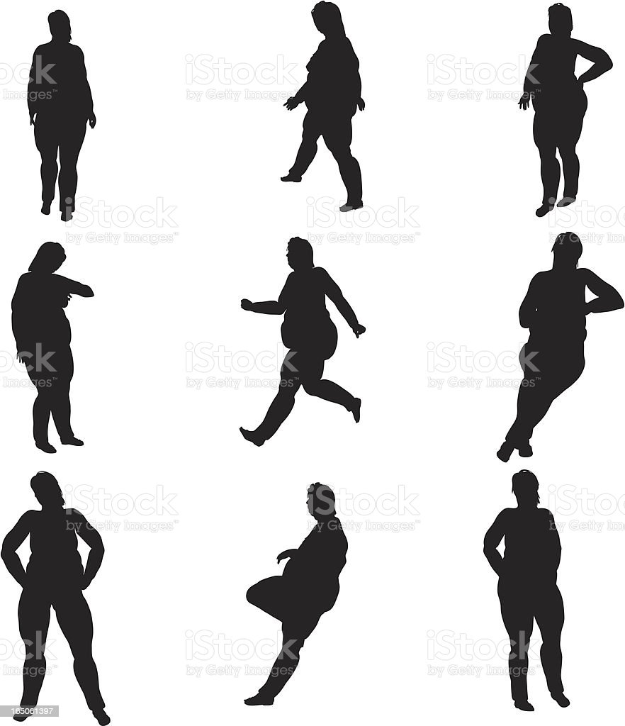Overweight Female Silhouette Collection (vector+raster) royalty-free stock vector art