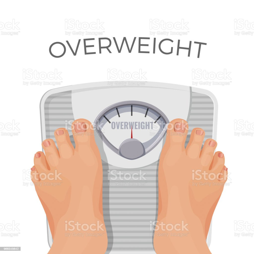Overweight human with fat feet on scales isolated on white. vector art illustration