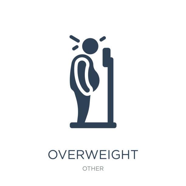 illustrazioni stock, clip art, cartoni animati e icone di tendenza di overweight icon vector on white background, overweight trendy fi - obesity