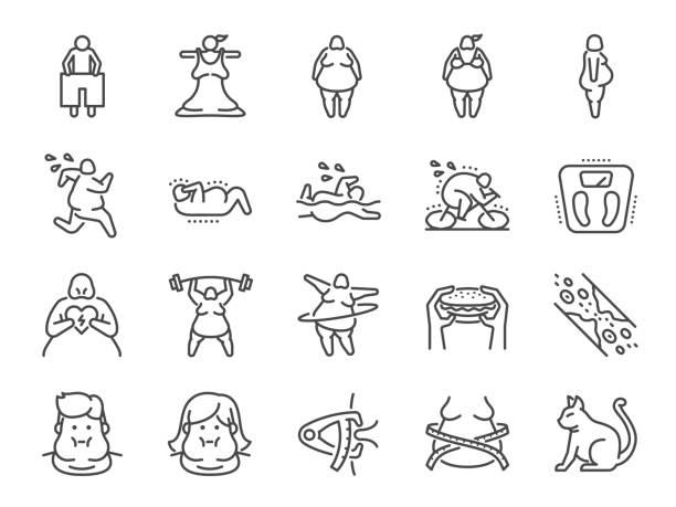 illustrazioni stock, clip art, cartoni animati e icone di tendenza di overweight line icon set. included the icons as fat, cholesterol, lose weight, exercise, scales and more. - obesity