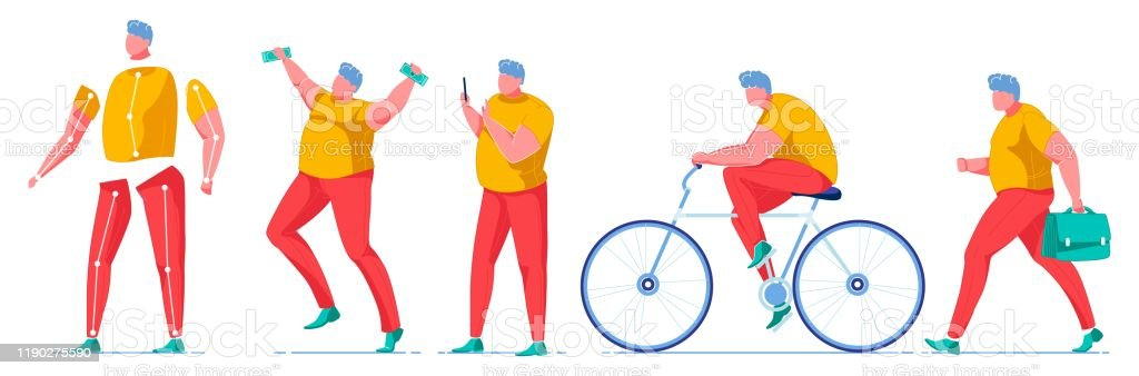 Overweight Man Body Parts Kit Banknotes Bike Stock Illustration Download Image Now Istock