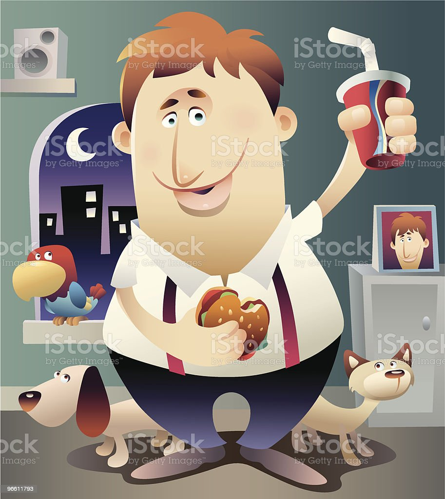Overweight Man Eating Fast Food - Royaltyfri Brunt hår vektorgrafik