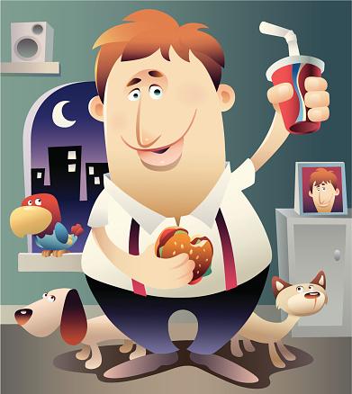 Overweight Man Eating Fast Food Stockvectorkunst en meer beelden van Alleen mannen