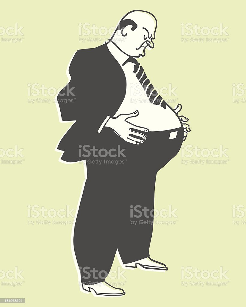 Overweight Man vector art illustration