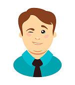 Overweight man winks. Vector illustration