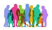 Colourful silhouettes of people with weight issues