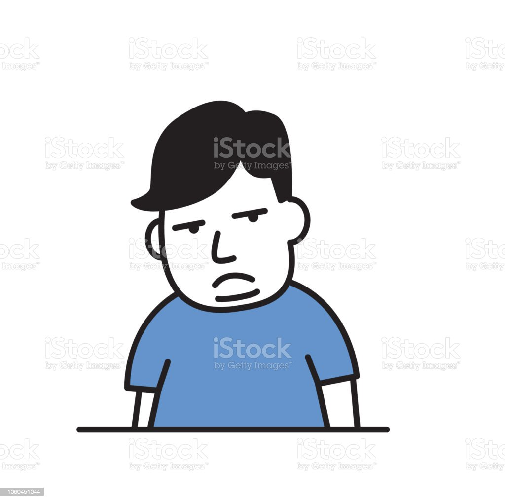 Overweight sad boy obesity cartoon design icon flat vector illustration isolated on