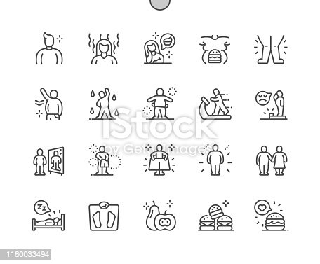 istock Overweight Well-crafted Pixel Perfect Vector Thin Line Icons 30 2x Grid for Web Graphics and Apps. Simple Minimal Pictogram 1180033494