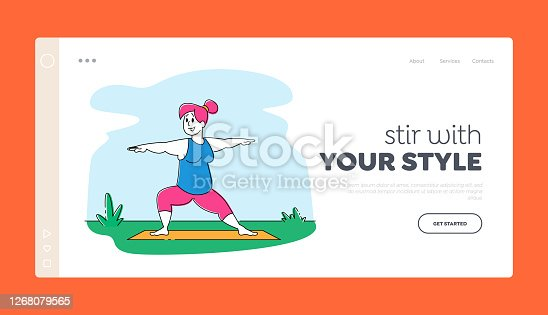 istock Overweight Woman Character Healthy Sport Life Landing Page Template. Fat Girl in Sports Wear Engage Fitness Activity 1268079565