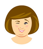 Overweight woman wink. Vector illustration