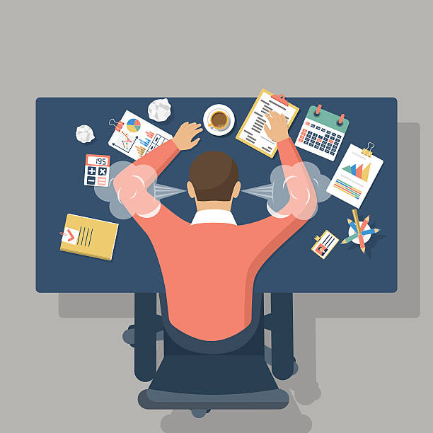 Overwhelmed hard work Man at desk, overwhelmed hard work. Stress at work. Fatigue at job. Vector illustration flat design. mental burnout stock illustrations