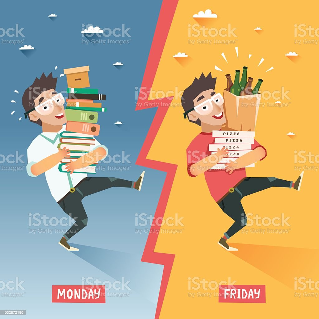 Overwhelmed student with pile of books VS happy relaxing student vector art illustration