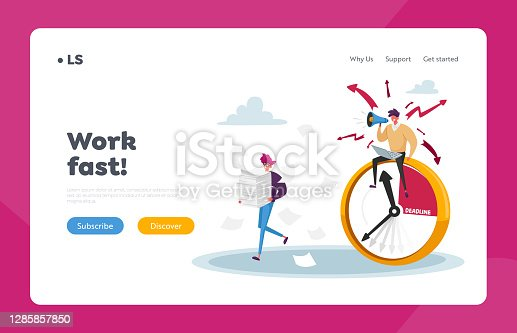 istock Overwork Manager Deadline Stress Landing Page Template. Businessman Yell in Loudspeaker on Office Employee Working 1285857850