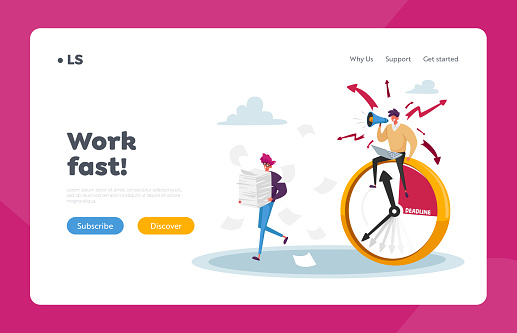 Overwork Manager Deadline Stress Landing Page Template. Businessman Yell in Loudspeaker on Office Employee Working
