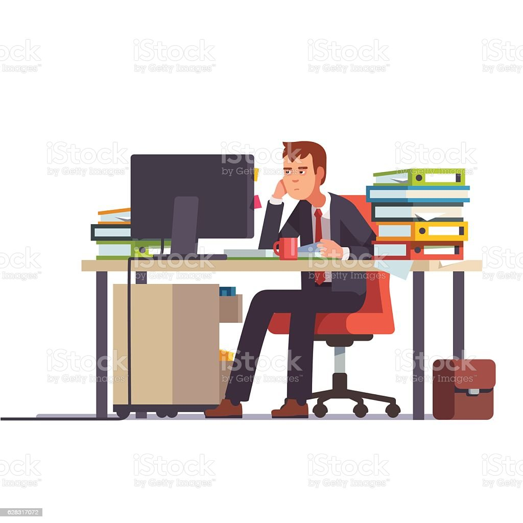 Overworked and tired accountant. Business stress. vector art illustration