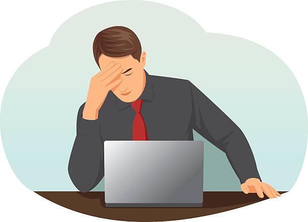 Overworked businessman vector art illustration