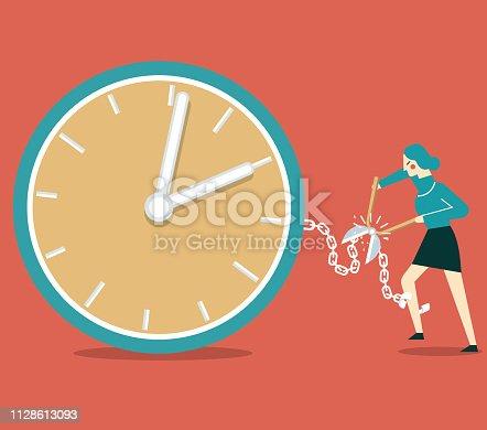 Businesswoman Cutting Chain