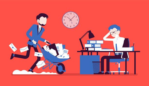 stockillustraties, clipart, cartoons en iconen met overwerkt in het kantoor - kruiwagen met gereedschap