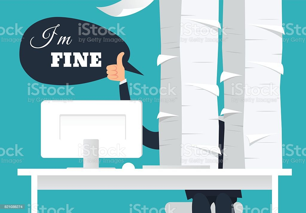 Overworked office man at his desk doing thumb up sign vector art illustration