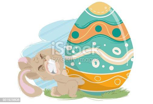 istock O Ovo de Páscoa Gigante (coelhinho esforçado) 931929808