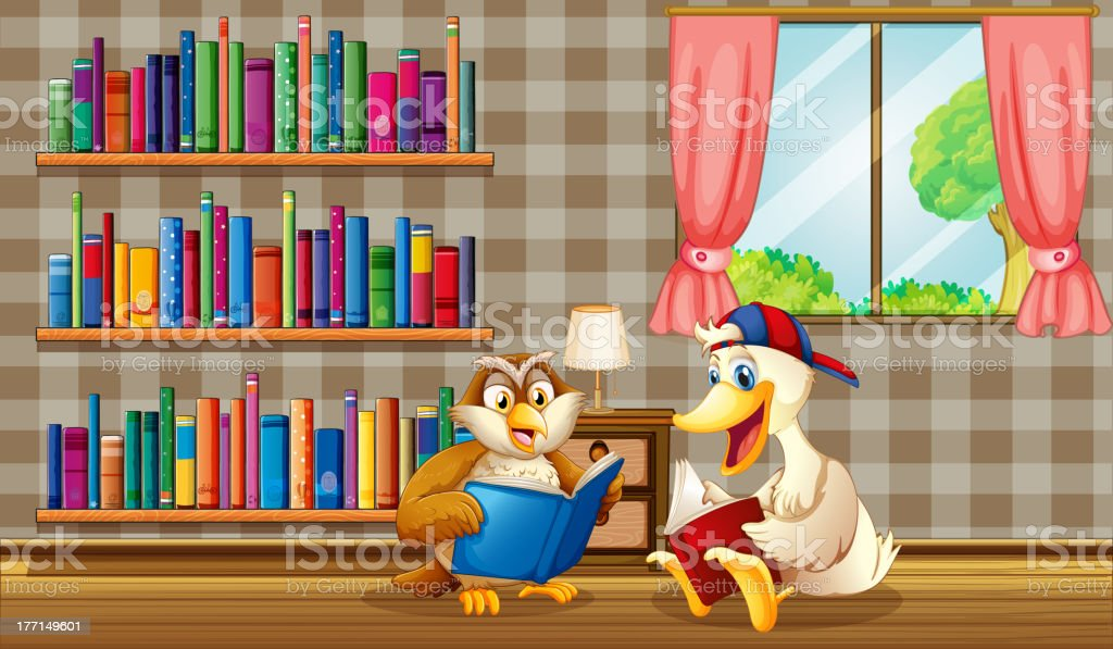 Owl and a duck reading inside the house royalty-free stock vector art