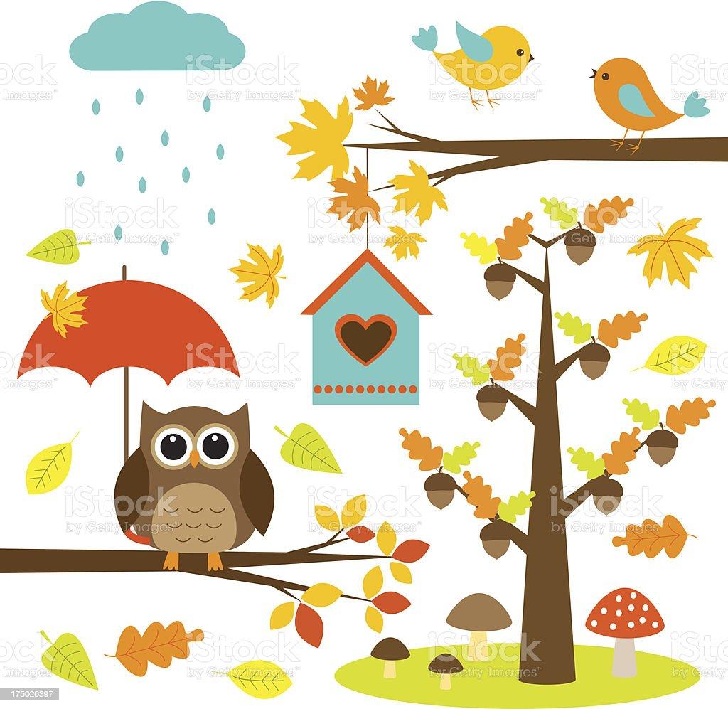 Owl and birds autumn royalty-free stock vector art