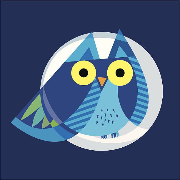 ilustraciones, imágenes clip art, dibujos animados e iconos de stock de búho y luna - tintanegra00