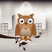 Owl And Polluted City