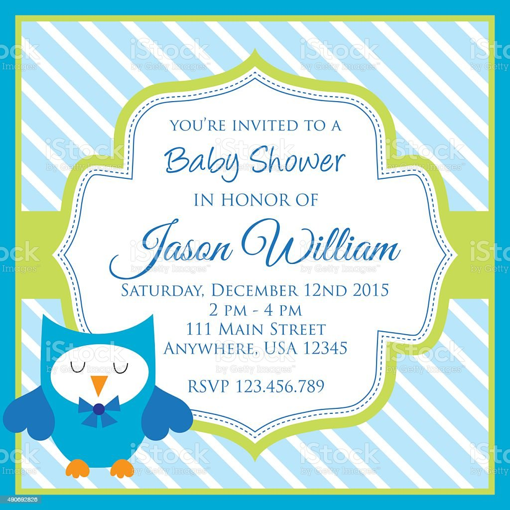 Owl Baby Shower Invitation Stock Vector Art More Images Of 2015
