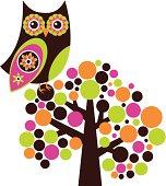 Funky owl in a retro tree