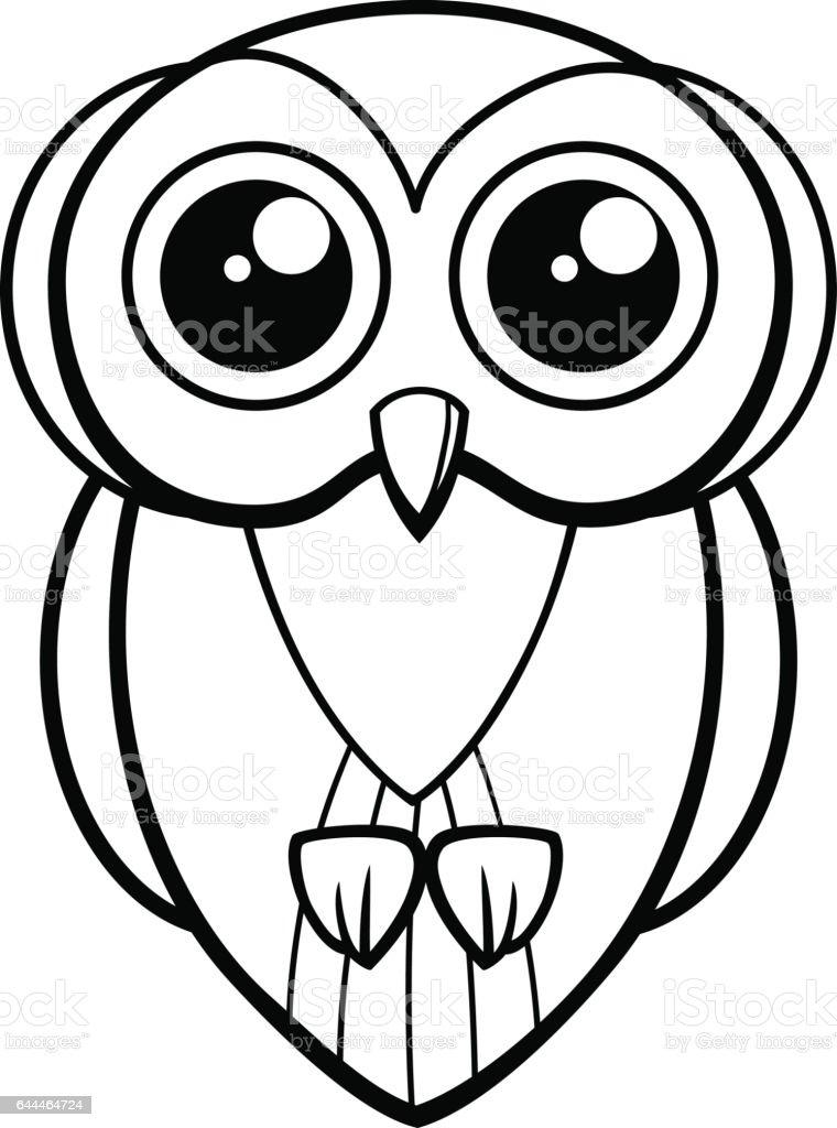 Baykuş Kuş Karakter Boyama Sayfası Stok Vektör Sanatı Animasyon